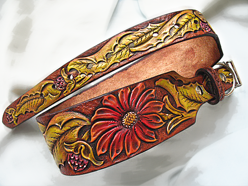 Buy a custom dog collar hand tooled carved sheridan