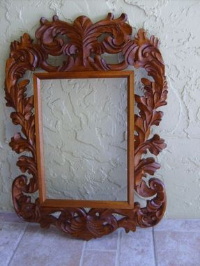 Custom Made Carved Mahogany Mirror Frame
