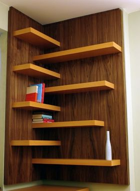 Custom Made Beech Desk; Beech And Walnut Shelves