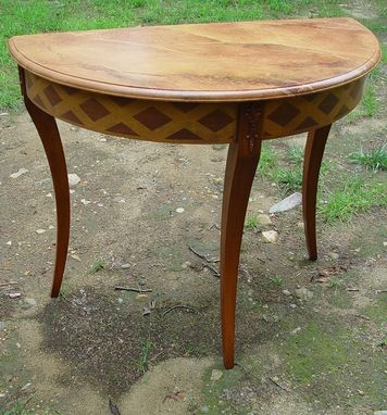 Custom Made Demi-Lune Half Round Table In Faux Wood Inlay
