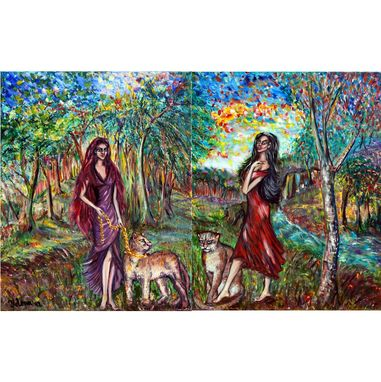 Custom Made Original Two Oil Paintings On Canvas. Goddesses Of The Spiritual Forest