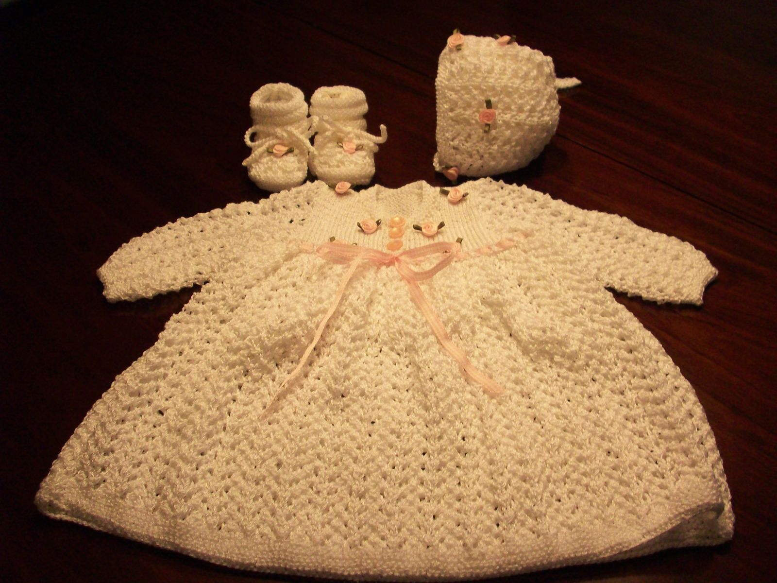 Custom Hand Knit Baby Outfit Dress Hat Bonnet And Booties by C&R