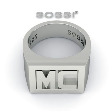 Custom Made Men's Customized Initial Rings In Silver