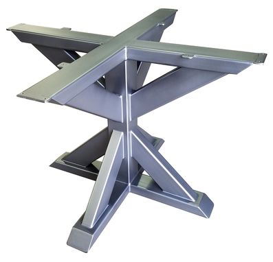wood table canada brushed studio features trestle steel round metal a the base top pedestal pipe