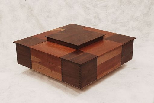 Custom Made Cherry And Walnut Coffee Table With Storage