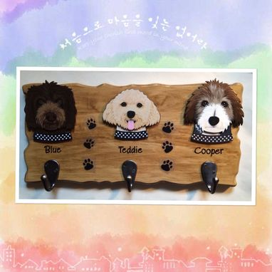 Custom Made Custom 3-Pack Dog Leash Hanger, Dog Portrait