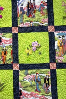 Custom Made Geisha Gardens-Queen Size Quilt