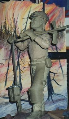 "Custom Made Bronze Sculpture Depicting A Native American Fire-Figther: ""The Guardian"""