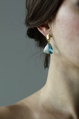 Custom Made Ocean Breeze Earrings- Blue,Pink,Gold Stud