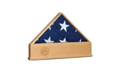 Custom Made Oak Us Flag Display Case With Engraved Us Army Emblem