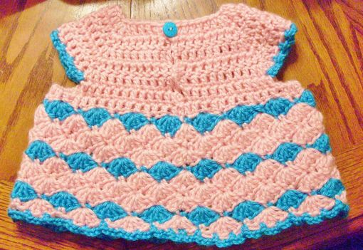 Custom Made Pink And Blue Lace Crochet Summer Top - Size 0-3 Months