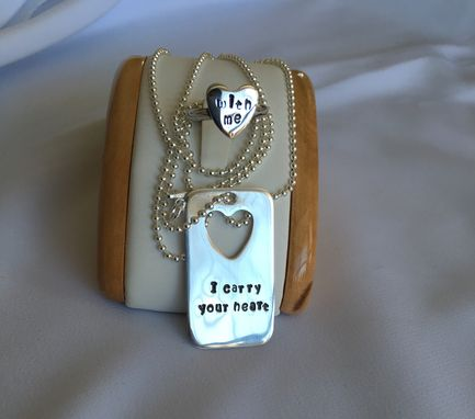 "Custom Made ""I Carry Your Heart With Me"" Dog Tag And Ring"