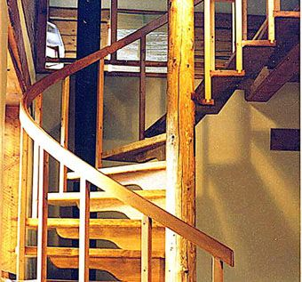 Custom Made Spiral Stair In Pine And Fir