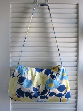 Custom Made Upcycled Purse With Magnetic Snap Made From An Ann Taylor Blue And Yellow Floral Skirt