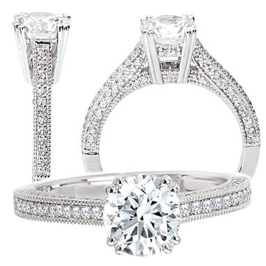 Custom Made 18k Cathedral Style White Gold Diamond Engagement Ring Semi-Mount, Holds 6.5mm