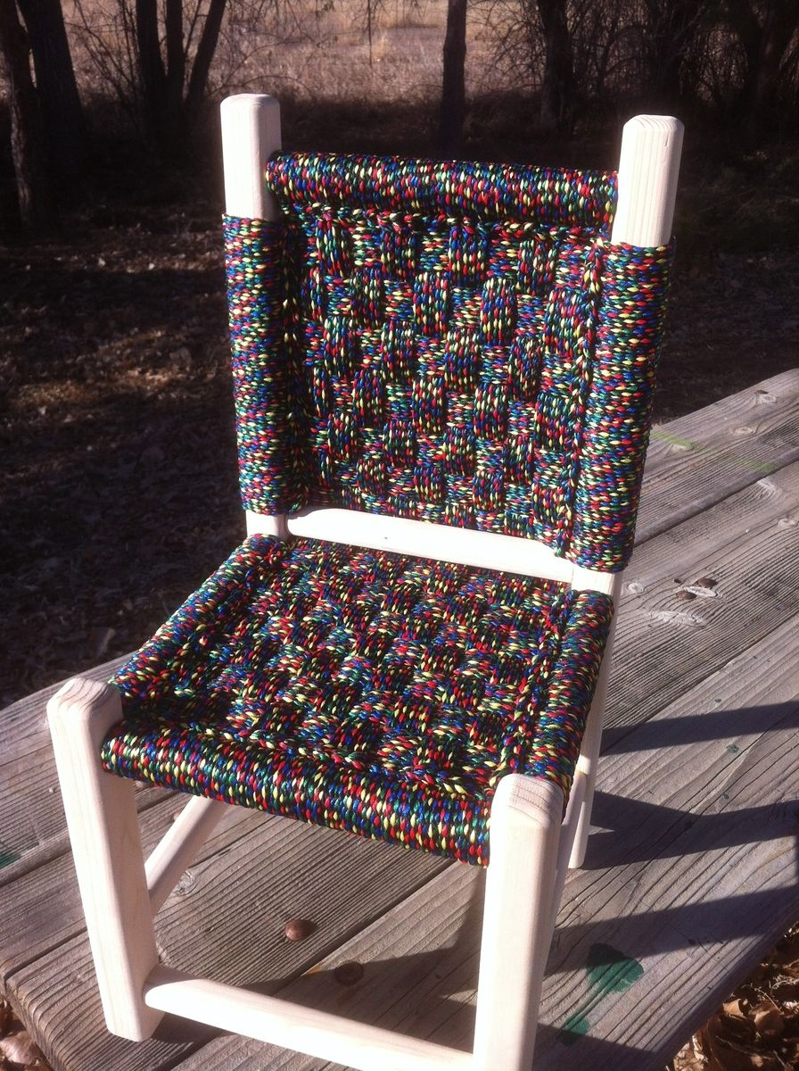 Hand Made Kids Post And Rung Macrame Chairs By Abc