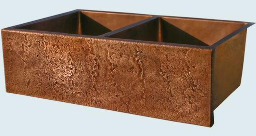 Custom Made Copper Sink With Hammered Apron