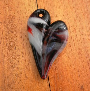 Custom Made Black, Red, And White Hand-Blown Glass Heart Pendant