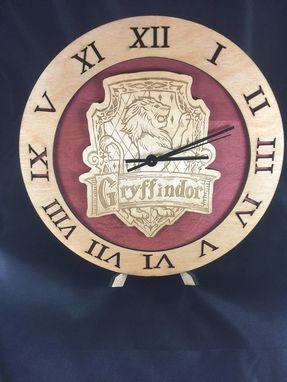 Custom Made Gryffindor Hogwarts House From Harry Potter Laser Cut Stained Wood Clock