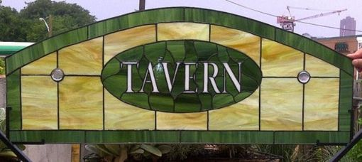 Custom Made Stained Glass Window  Panel --Transom -- Tavern Design (Tw-4)