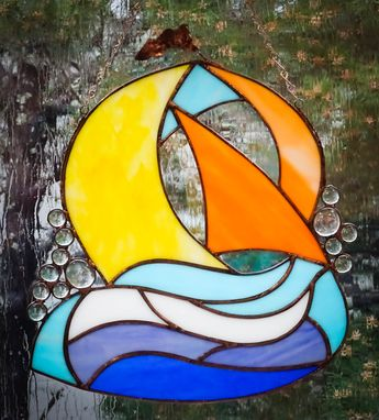 Custom Made Sailboat Stained Glass