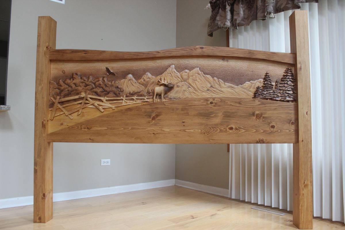 Hand Crafted Hand Carved Wooden King Size Headboard Handmade From Knotty Pine By Lazy River