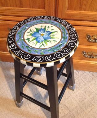 Custom Made Custom Hand Painted Round Top Bar Stool// Blue Flower Whimsical