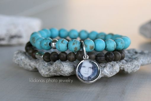 Custom Made Boho Stacking Photo Bracelet With Turquoise Chalk Beads And Brown Wood Beads