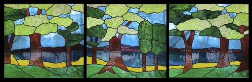 "Custom Made ""Summer Trees"" Stained Glass Window"