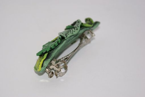 Custom Made Barrette, Green Layered Leaf French Style Hair Barrette