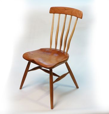 Custom Made Hand Carved Cherry Side Chair - Solid Wood - Mortis And Tenon Joints