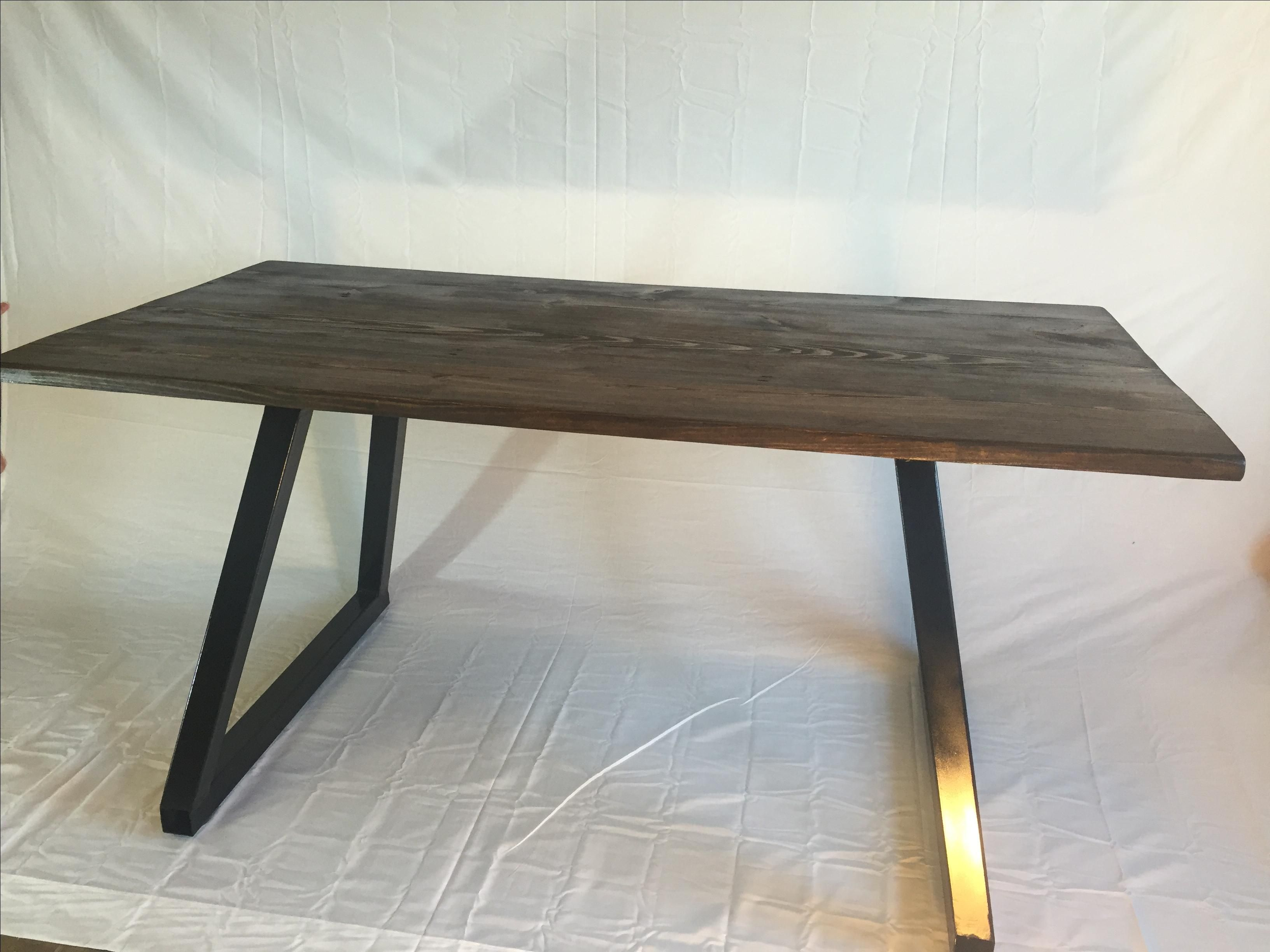 custom made modern office desk wood top with metal base