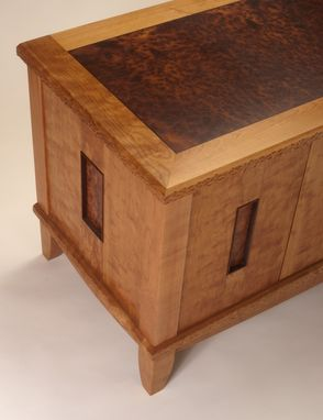 Custom Made Low Cabinet Of Figured Cherry, Camphor Burl And Wenge