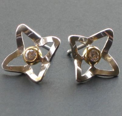 Custom Made Sterling And Gold Diamond Star Studs