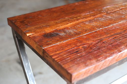 Custom Made Industrial Modern X Frame Reclaimed Wood Bar