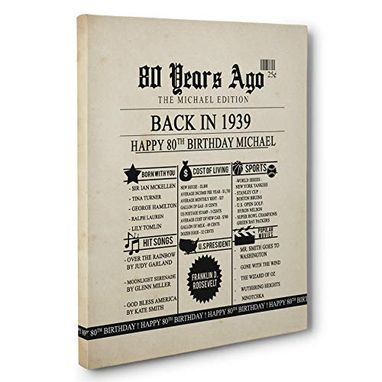 Custom Made 80th Birthday Newspaper Born In 1939 Stats Canvas Wall Art