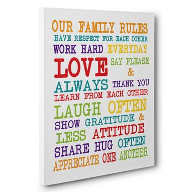 Custom Made Colorful Family Rules Canvas Wall Art
