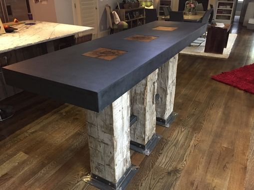 Custom Made Reclaimed Beam And Modern Concrete Kitchen Island