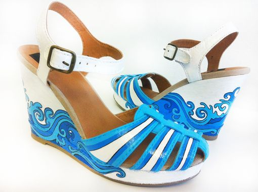 Custom Made Summer Hand Painted Shoes/  Summer Wedding Shoes/ Blue Wedges/Bridal Summer Shoes