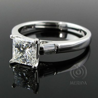 Custom Made Custom Engagement Ring With Princess Cut Diamond