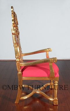 Custom Made Solid Mahogany Gold French Rococo Dining Arm Chair