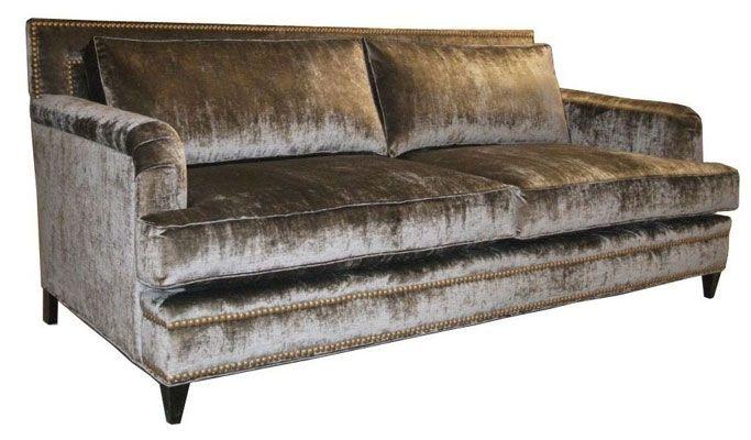 Custom Silk Velvet English Arm Sofa By Access Designer