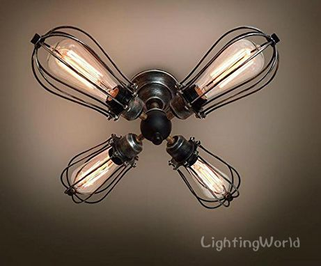 Custom Made 4 Lights Vintage Industrial Ceiling Light
