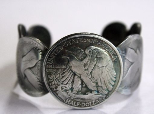 Custom Made Womens Silver Coin Cuff Bracelet Size 6.5 (Xs-S)