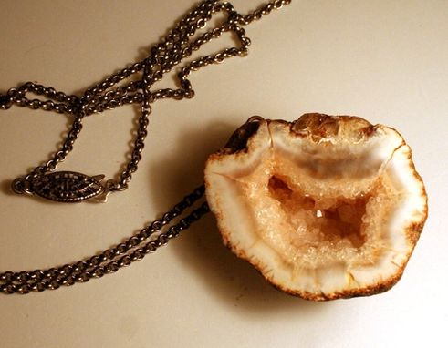 Custom Made Pink Agate Geode Half Drusy / Druzy Necklace On A Genuine Antique Silver Chain