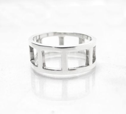 Custom Made Modern Ring - Silver Ring - Recycled Sterling Ring - Contemporary Ring - Square Ring