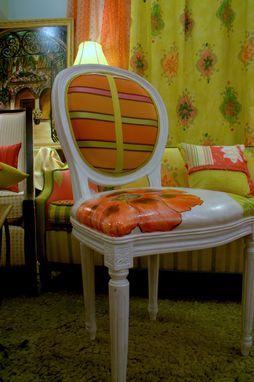Custom Made Hand Painted Queen Anne Chairs by Jane Hall