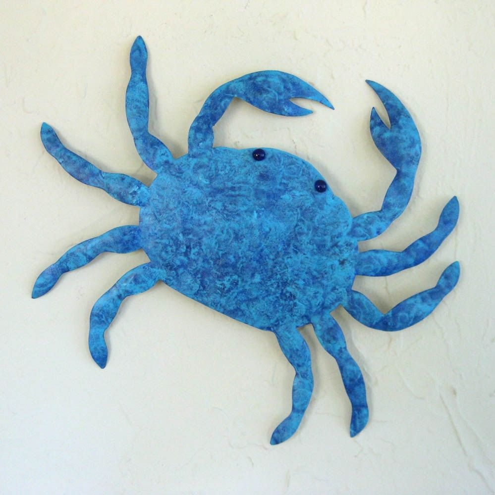 Metal Sculptures And Art Wall Decor: Custom Handmade Upcycled Metal Crab Wall Art Sculpture In