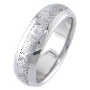 meteorite inlay titanium ring - Meteorite Wedding Ring