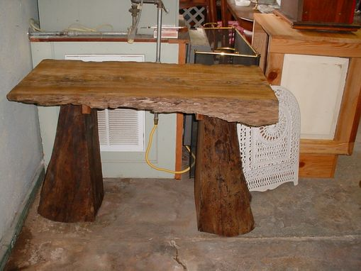 Custom Made Pair Of Sinker Cypress Desk & Document Organization Table, Tree Truck Pedestals